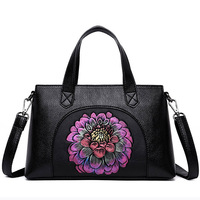 CESHA Vintage Flower Handbags for Women Genuine Cow Leather Casual Tote Female Real Leather Shoulder Bag Business Women Bag SAC