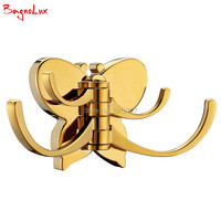 100% metal butterfly kształt łazienka drzwi płaszcz 4 bath robe haki chrome brushed nickel titanium złota łazienka ścienny wieszak