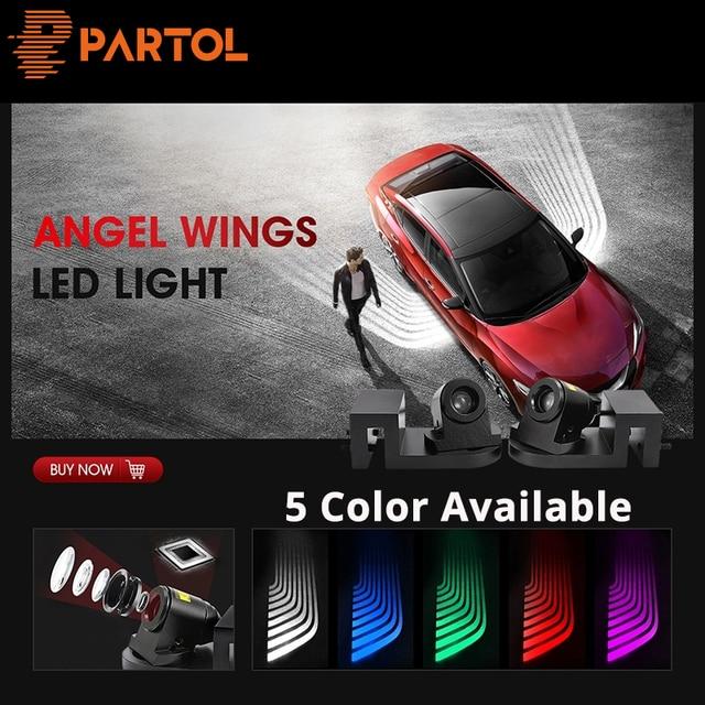 partol 2pcs angel wings car welcome light shadow light projector carpartol 2pcs angel wings car welcome light shadow light projector car led door warning light lamp for kia lada bmw renault audi