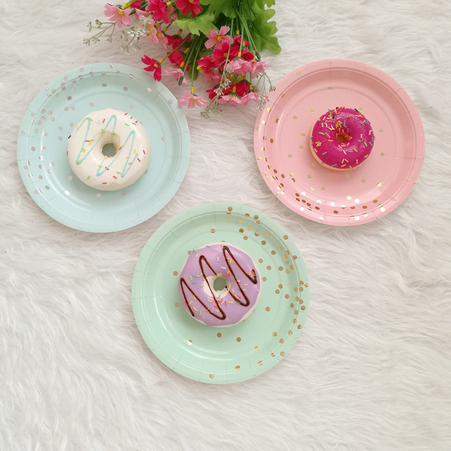 Disposable Plates Straws Gold Pink Mint Green Foil Dot 7\
