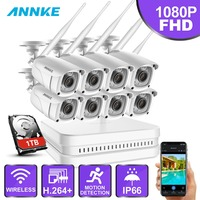 ANNKE 8CH 1080 P FHD WiFi видеонаблюдение NVR система с 2 мегапиксельной пулей всепогодные ip камеры 100ft ночного видения с умным ИК