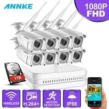 ANNKE 8CH 1080 P FHD WiFi видеонаблюдение NVR система с 2-мегапиксельной пулей всепогодные ip-камеры 100ft ночного видения с умным ИК