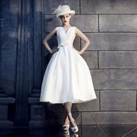 Simple Short Satin Ball Gown Wedding Dresses Tea Length V Neck Wedding Dress Fashion Bridal Dresses