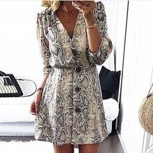 Women  Autumn V-neck Half Sleeve Button Casual Dress Elegant Mini Vacation Dress