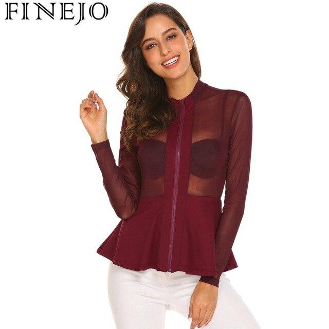 FINEJO Women Long Sleeve Sexy Perspective Mesh T-Shirt 2018 Spring Casual  See Through A-Line Hem Solid Mesh tshirt Ladies Tops 4b4bc7c2c