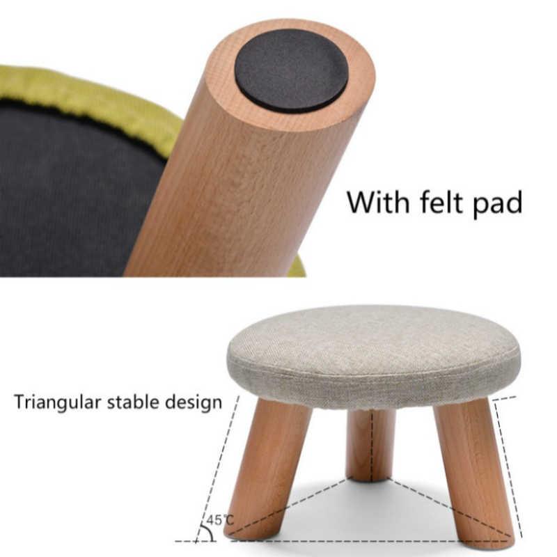 Свет Портативный Бытовая твердой древесины менять обувь Bench многофункциональный ткань сиденье круглое стул диван подставка для ног досуг детей низкий табурет