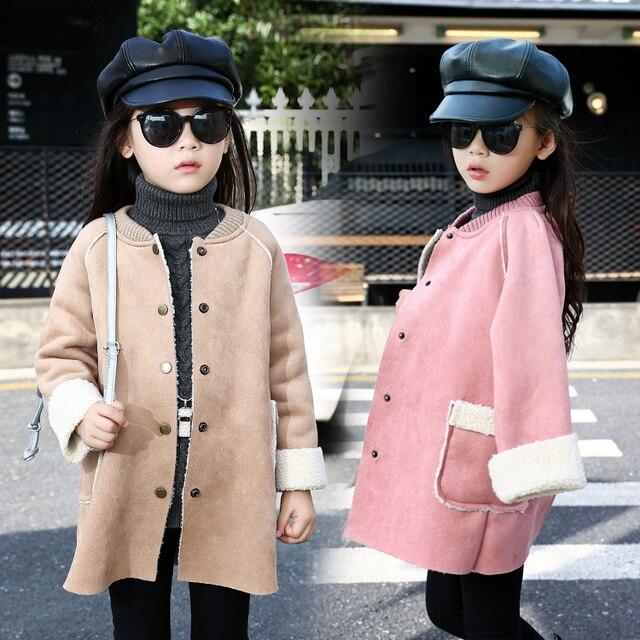 4725a8b41 2018 Fall Winter Korean Fashion Girls Long Suede Jacket Kids Casual ...