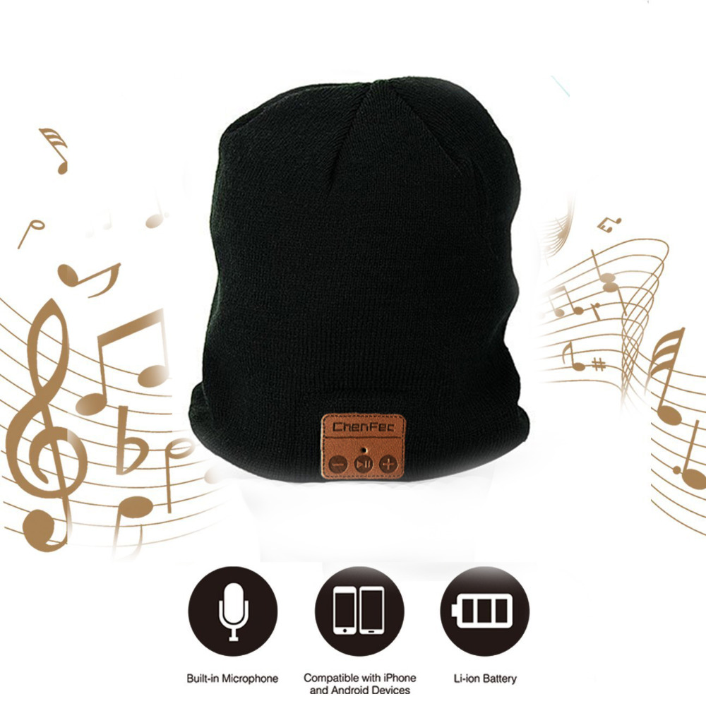 Unisex Beauty Bluetooth cap soft Knitted Winter Beanie Music Player Bluetooth hat Speaker Warm Hats For Phone headset USB charge women s winter beanie hat wool knitted cap shining rhinestone beanie mink fur pompom hats for women