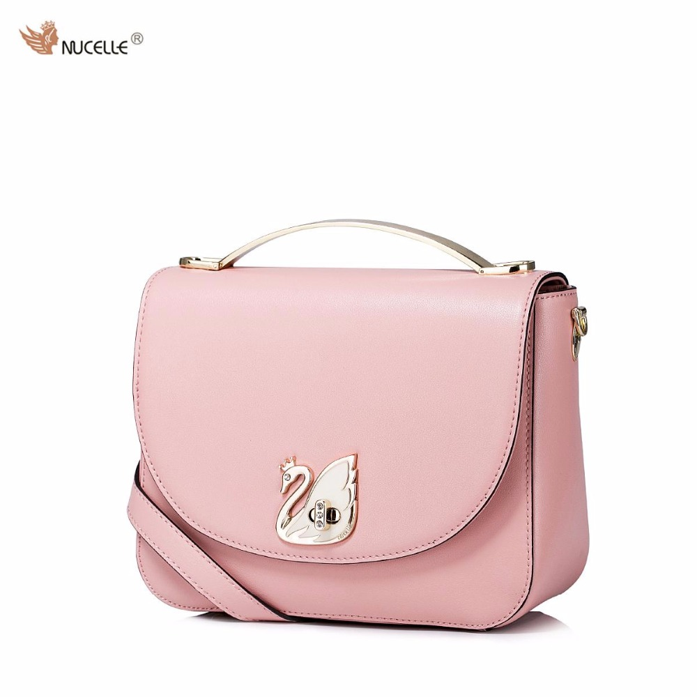 ФОТО NUCELLE Brand New Design Fashion Casul Swan Lock Cow Leather Women Lady Handbag Shoulder Crossbody Small Flap Bags