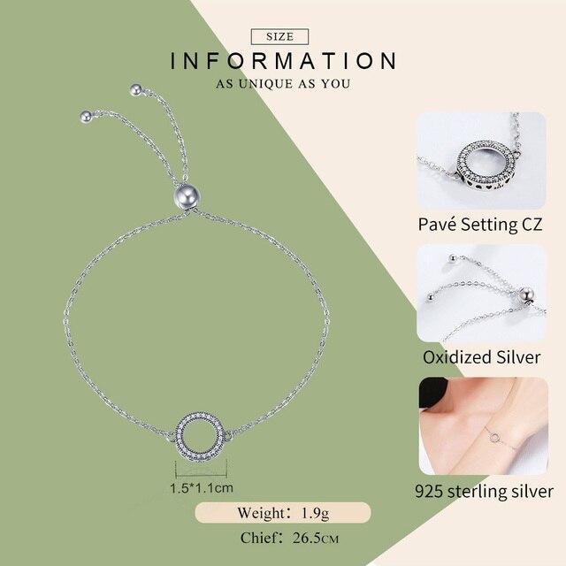 WOSTU Authentic 925 Sterling Silver Glittering Rotondi del Cerchio di Collegamento Chain Bracciali Strand Per Le Donne Gioielli In Argento Sterling CQB030