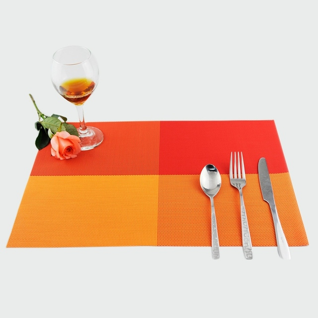 Good Quality PVC Waterproof Dining Table Mats Plaid Western Food Table  Decoration Placemats Kitchen Bar Accessories