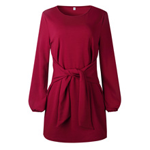 spring and autumn comfortable casual woman dresses fashion solid lantern sleeve empire bow mini female 90s