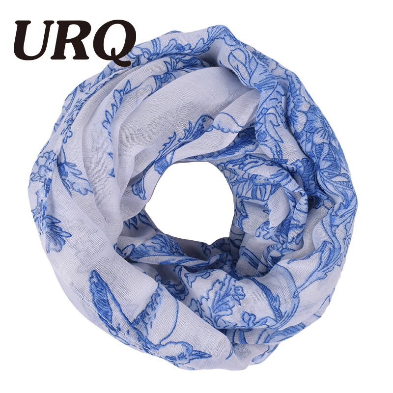 URQ 2017 Fashion Floral Viscose Scarf Women Soft Autumn Infinity Scarves Gift For Mom Brand Loop Ring Bufanda Echarpe V8A9889