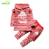 EOICIOI 3pcs Cartoon Striped Baby Girls Boys Clothes Kids Autumn Hooded Vest T Shirt Pants Outfit