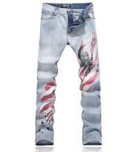 Мода новинка череп печати мужчин оболочка элегантные брюки джинсы