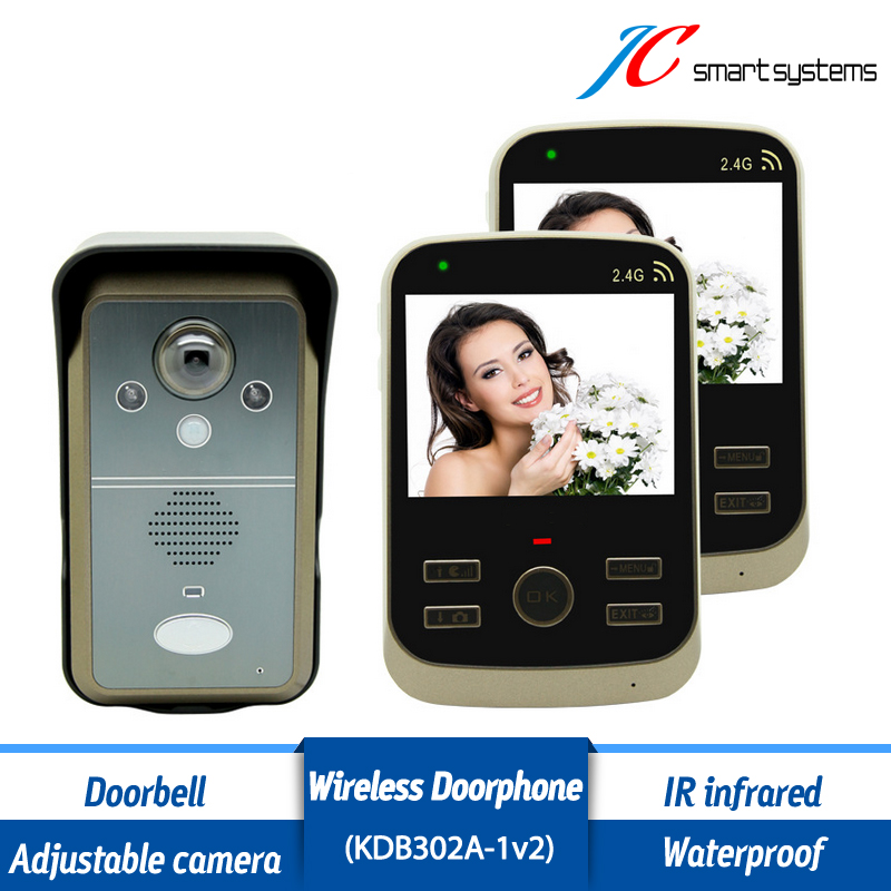Kdb302A 1v2 Video Call Intercom Wireless Videoportero Door Alarm System With 2 3.5 inch LCD Monitors For Home/ Villa/ Apartment 2 receivers 60 buzzers wireless restaurant buzzer caller table call calling button waiter pager system