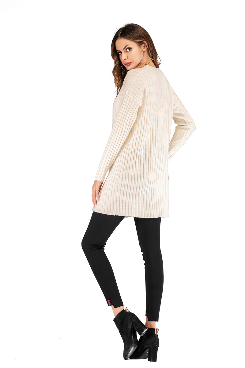 Fall Winter Cute Knitted Middle Long Ribbed Cardigan Dress for Women Kawaii Ladies Knit Drop Shoulder Sweater Coat Oversized S-L 19