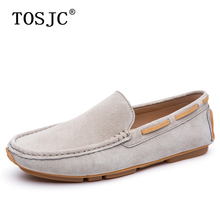 TOSJC Fashion Men Casual Shoes Summer Cow Suede Man Loafers Luxury Breathable Slip On Moccasins Lightweight Mens Driving