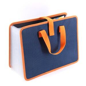 Tissu à la main de mode avec 13 couches de dossier de dossier a4 paquet d'accordéon portadocumentos sac de document paquet d'information d'affaires