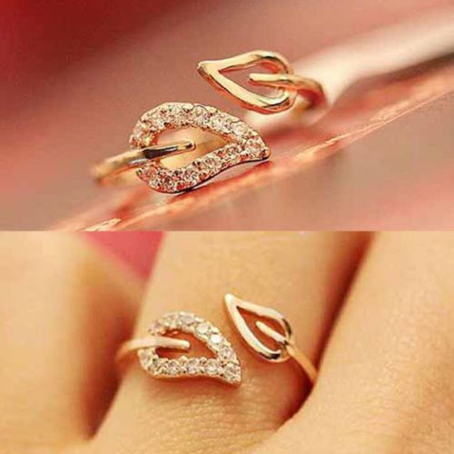 Euramerica Style Couple Leaves Crystal Drill Lover Rings For Women Party Wedding