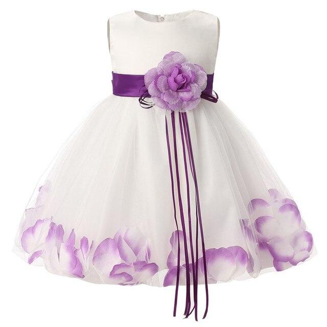 6c17f00ba462 Newborn Baby Girl 1 Year Birthday Dress Petals Tulle Toddler Girl ...