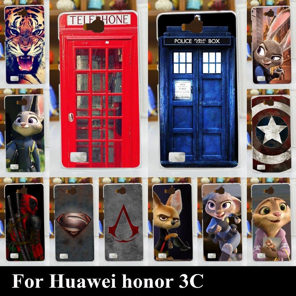 Для Huawei Honor 3C Случае Высокое Качество Transpatent Жесткий Пластик Цвет Краска Случай Мобильного Телефона Крышки Случая