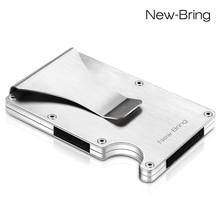 Тонкий мужской бумажник с отделением для кредитных карт, алюминиевый идентификационный кошелек с защитой от кражи RFID