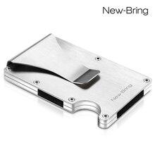 Porte cartes de crédit mince dété porte cartes didentité en Aluminium portefeuille dhomme avec Protection Anti vol RFID