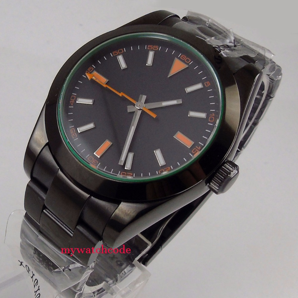 лучшая цена 40mm Parnis black dial orange PVD case sapphire glass automatic Mens Watch