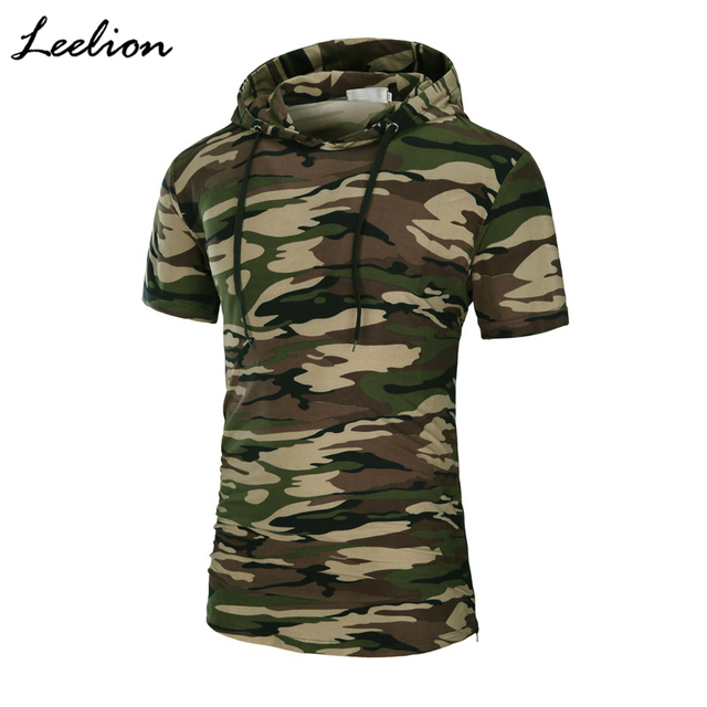 LeeLion 2018 Camouflage Hooded T Shirt Men Summer Short Sleeve Long T-shirt Fashion Side Zipper Men's Tshirt Hip Hop Streetwear