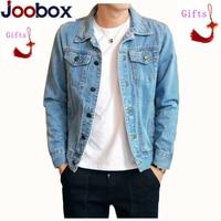 2018 Cotton Solid Denim Jacket Mens Spring Autumn Casual Slim Fit Bomber Jackets Men Jean Jacket Mens Outwear Male Cowboy M 4XL