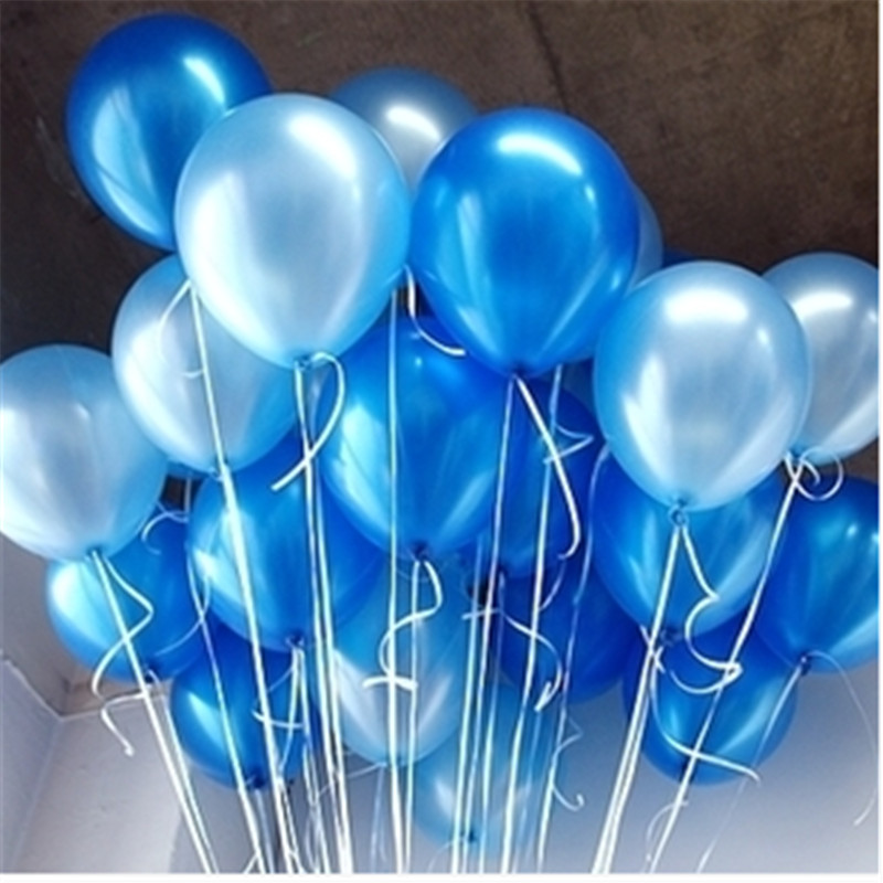 10pcs/lot white blue Pearl Latex Balloon Air Balls Children's Birthday Party Balloons wedding party decoration balloon kid toys(China)