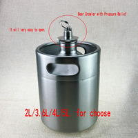 Homebrew stainless steel Beer Growler With Pressure Relief Valve Lid 2L 3.6L 4L 5L mini keg