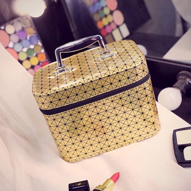 Korean style Brand 4 Colors Trunk Cosmetic Storage Organizer Waterproof Polish Cosmetic Bag Handbag Women Mix Color Make Up Bags
