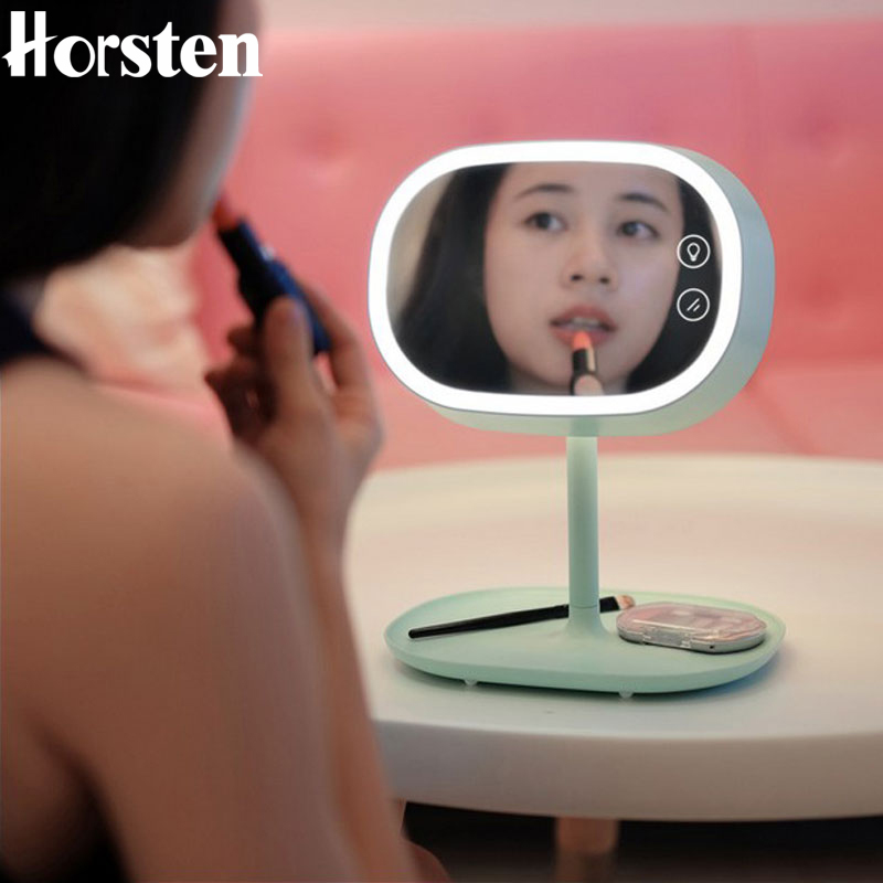 Horsten Fashion Rechargeable LED Table Lamp Makeup Mirror With Lights Smart Home Lights Desktop Bedside Lamp Decor Birthday Gift