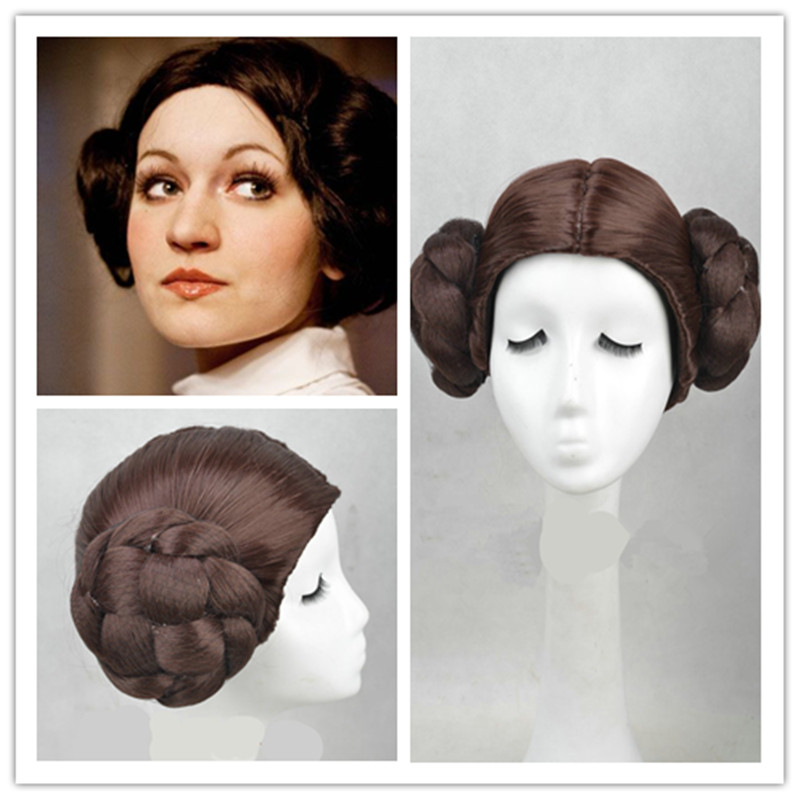 Star Wars Princess Leia Organa Solo Wig Short Brown Cosplay Hair With Two Buns cosplay costume star wars princess leia organa cosplay wigs halloween costume wig synthetic fiber wig free shipping 2015 hot sales