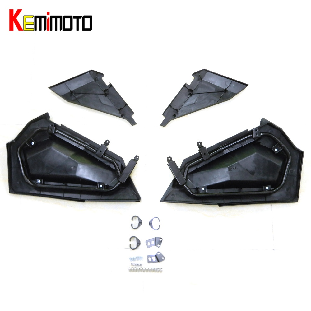 KEMiMOTO Lower Door Panel Inserts for Polaris RZR XP S Turbo 1000 2879509 RZR XP 1000 2014 2015 2016 RZR S 900 1000 2016 black shallow cut turbo hood scoop air intake for 2014 2018 all polaris rzr s xp xc 900 4 1000 models