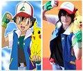 Alta Qualidade Azul Pokemon Ash Ketchum Treinador Cosplay Jacket Luvas Chapéu Ash Ketchum Costume Em Estoque