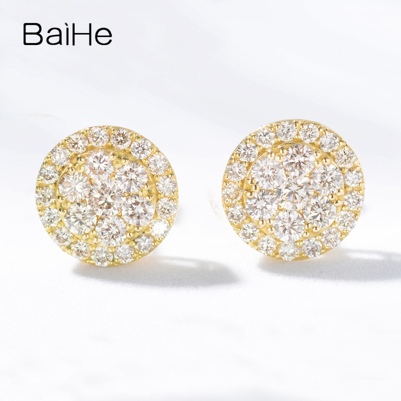 BAIHE Solid 14K Yellow Gold 0.80ct H/SI-SI3 Round Cut 100% Genuine Natural Diamonds Engagement Trendy Fine Jewelry Stud Earrings