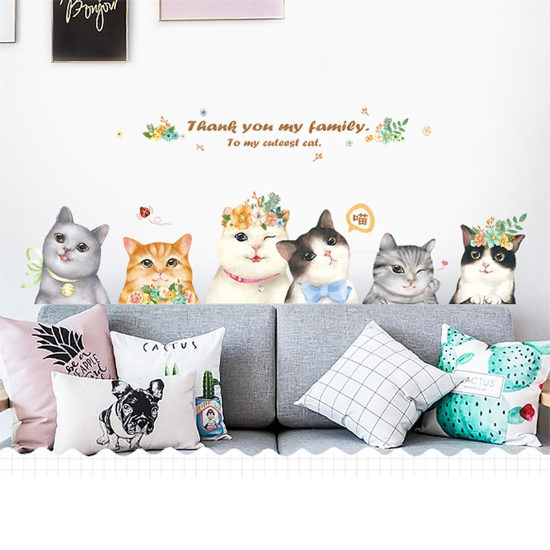 Cute Cartoon Cat Female Bedroom Baby Room Animal Decoration Women Girl Home Decor Door Sticker Wall Stickers PVC Wall Decals