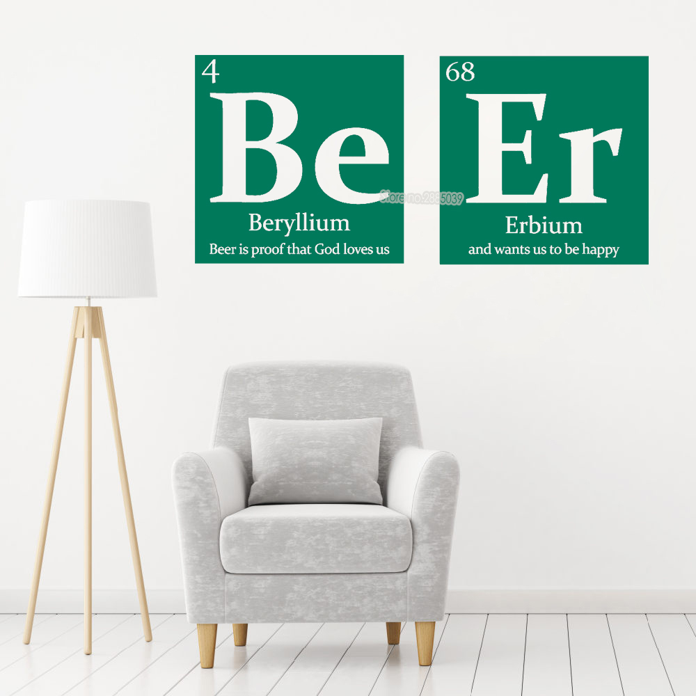 Be Er Periodic Table Wall Decal Beer With Funny Quote Wall Stickers ...
