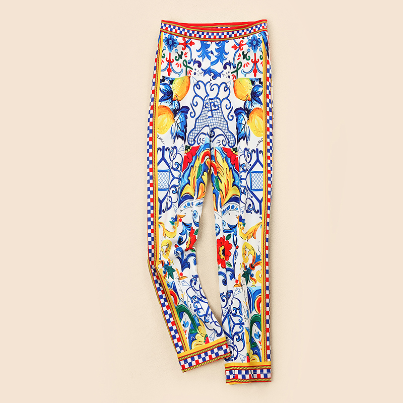Nouvelle Flare Imprimer Pantalon Américain Manches Et Brillait Costumes Bleu Youe Multi Gamme Blouse De Européen Blanc Crayon Ruches Haut 8qgwnS5