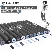 12 Color Grey Marker Pen Set Dual Head Art Markers Painting Set For Drawing Touch For