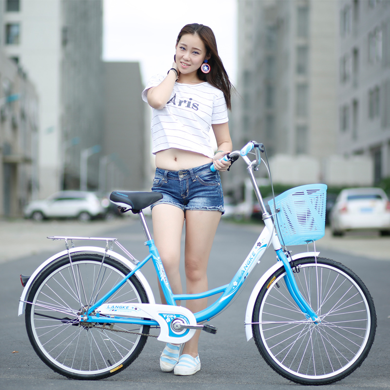 Urban Leisure Commuter Bicycle 24 Inch Single Speed Rigid Frame Two-Color Optional Bicycle With Basket