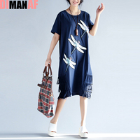 Big Size Women Dress Cotton Dragonfly Print Tassel Summer Style Dresses Short Sleeve Plus Size Female