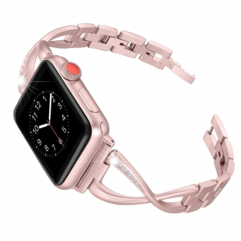 Mawar Emas Tali Untuk Apple Watch Band 38 40 42 44mm Wanita Watch Band Stainless Steel Mengganti Strap Untuk Iwatch Seri 4 3 2 1 Watchbands Aliexpress