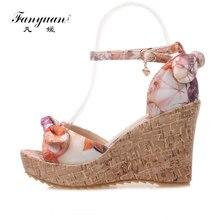 Fanyuan beautiful girls Wedge Sandals fancy Butterfly-knot Print high heel Platform shoes women Beach Summer Ankle strap sandals