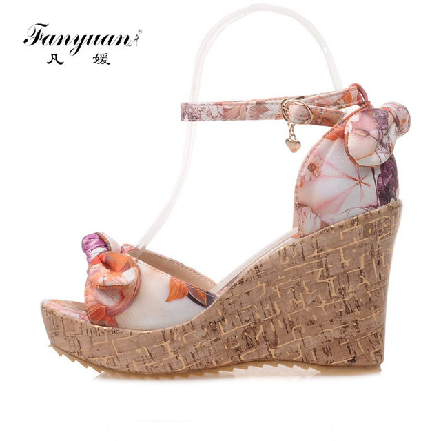 782ee14d5 Fanyuan beautiful girls Wedge Sandals fancy Butterfly-knot Print high heel  Platform shoes women Beach Summer Ankle strap sandals