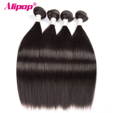 [ALIPOP] Straight Brazilian Hair Weave Bundles Remy Human Hair Bundles 10″-28″ Double Weft Hair Extension Natural Black 1 bundle