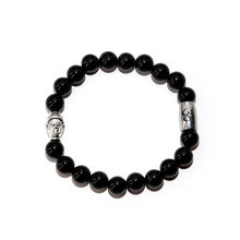 Tibetan Buddhism Buddha Charms Bracelets for Women Men Obsidian Beads Stainsteel Lotus OM Charm Yoga Bracelet Jewelry(China)